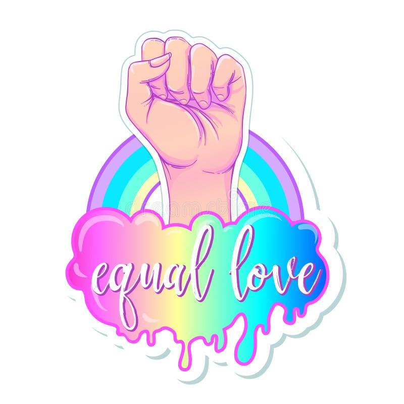 相等的爱 与彩虹光谱的激动人心的同性恋自豪日海报 向量例证