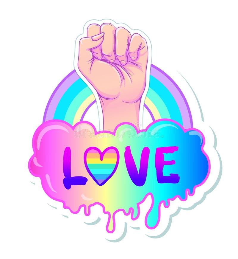 相等的爱 与彩虹光谱的激动人心的同性恋自豪日海报 皇族释放例证