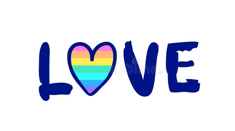 相等的爱 与彩虹和clou的激动人心的同性恋自豪日海报 皇族释放例证