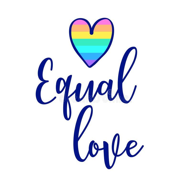 相等的爱 与彩虹和clou的激动人心的同性恋自豪日海报 库存例证