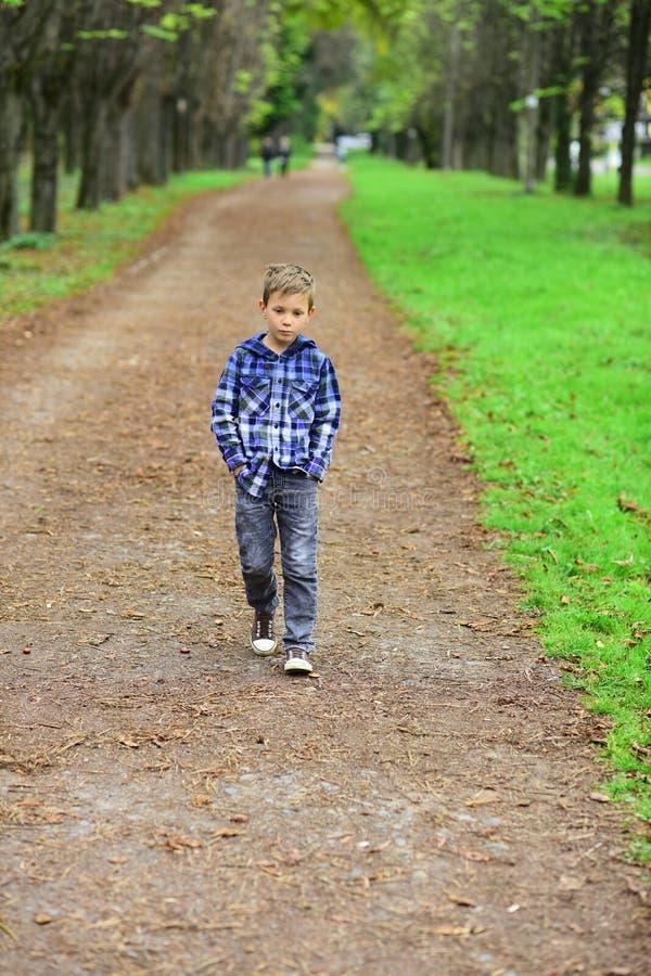 盼望未来的Im 小男孩享受更加明亮的未来 沿小径的小男孩步行在公园 准备 免版税库存照片