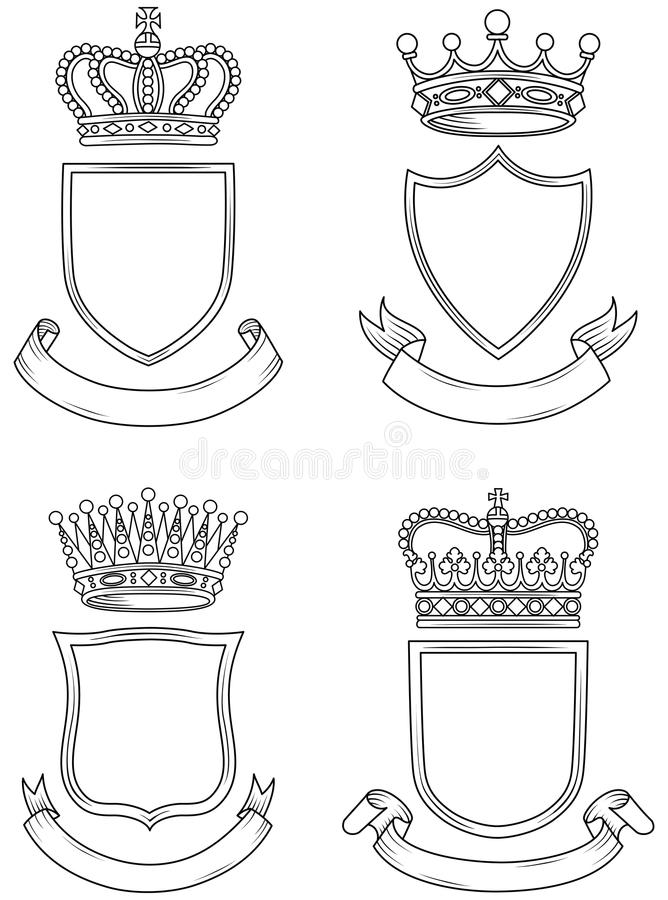 盾、横幅和冠集合 皇族释放例证