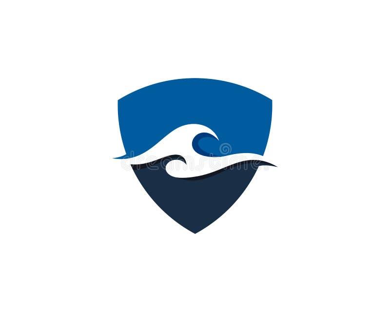 盾卫兵波浪象商标设计元素 向量例证