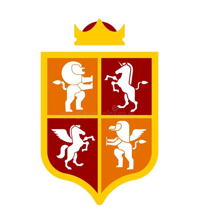 盾和动物纹章学集合符号 佩格瑟斯和狮子和Gry 库存例证