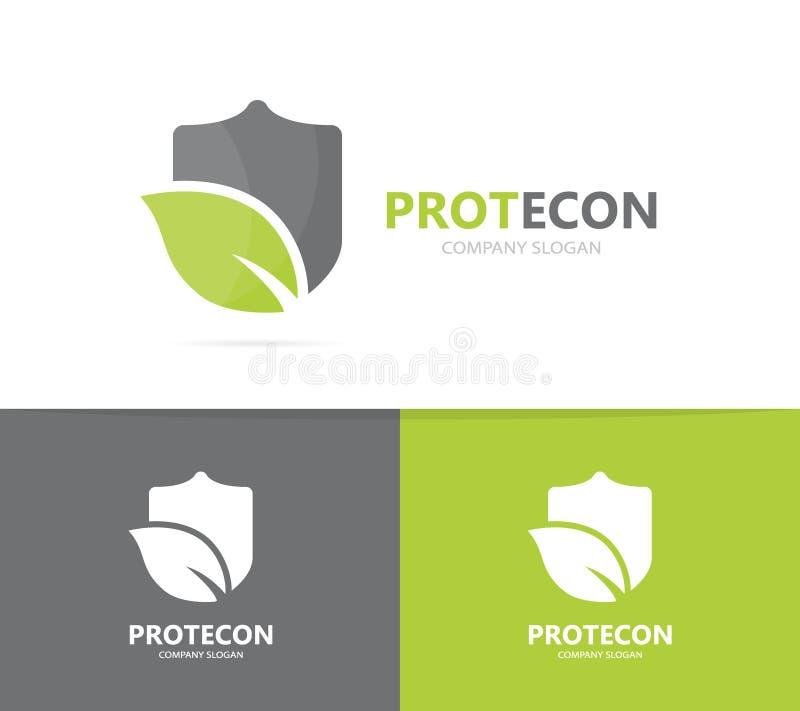 盾和叶子商标组合传染媒介  安全和eco标志或者象 独特保护和有机略写法设计 库存例证