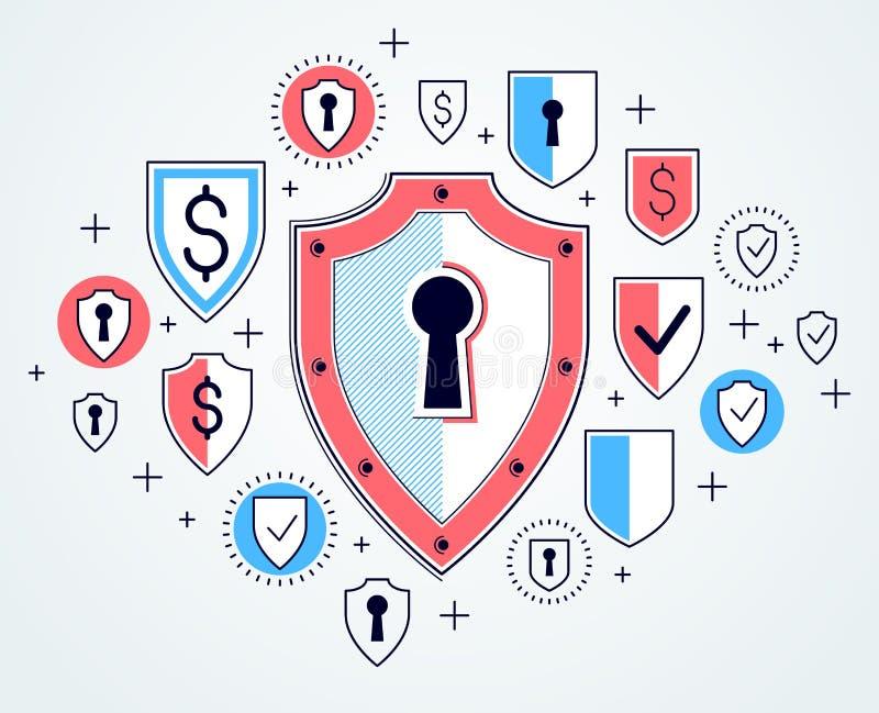 盾和套象、互联网安全概念、抗病毒或者防火墙,财务保护,传染媒介平的稀薄的线设计, 库存例证