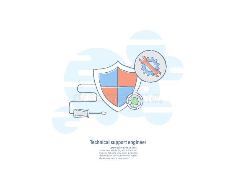 盾和工具象 技术系统支持概念 商标传染媒介例证手拉的线平的设计 向量例证