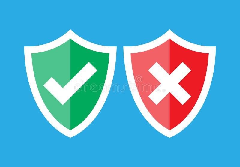 盾和校验标志 审批和拒绝 向量例证