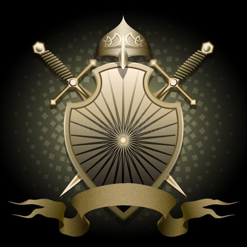 盾和盔甲 库存例证