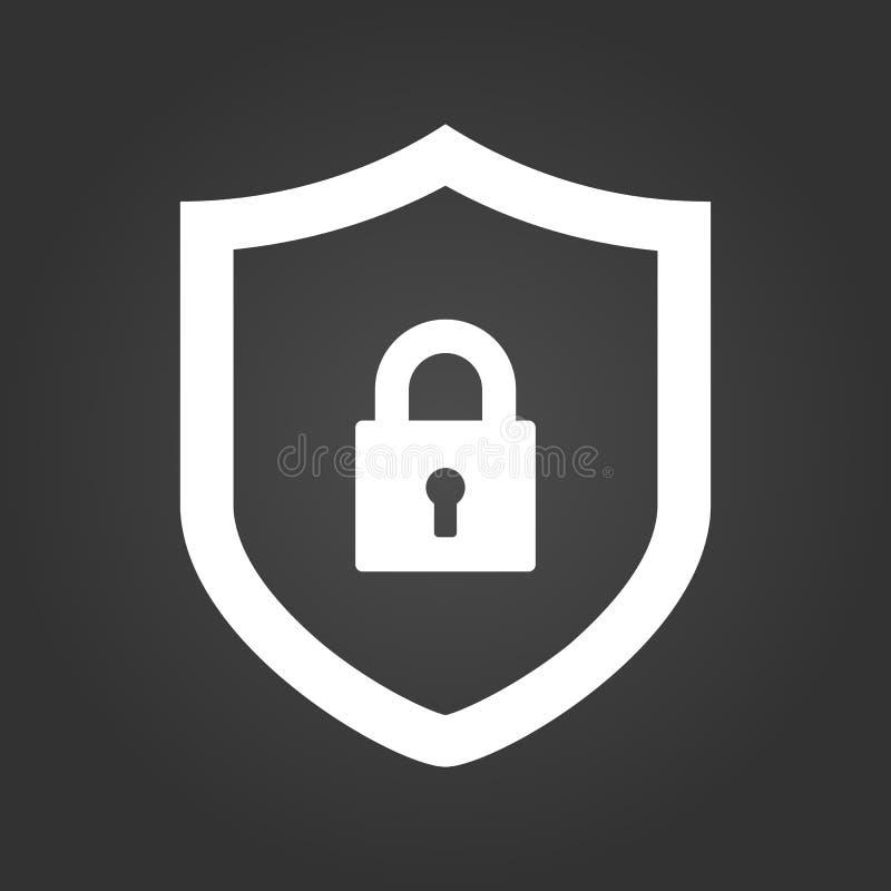 盾和锁象 Cyber证券概念 在黑背景隔绝的抽象安全传染媒介象例证 库存例证