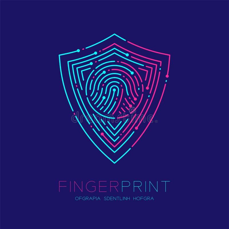 盾形状样式指纹扫描商标象破折号线,安全保密性概念,桃红色编辑可能的冲程的例证蓝色和 向量例证
