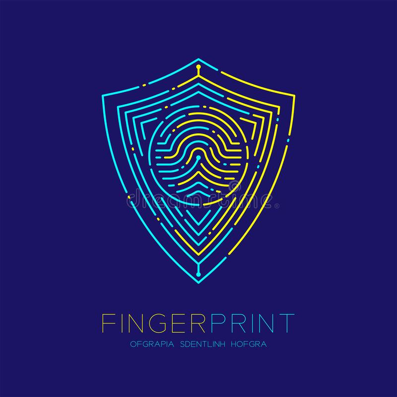 盾形状样式指纹扫描商标象破折号线,安全保密性概念,黄色编辑可能的冲程的例证蓝色和 皇族释放例证