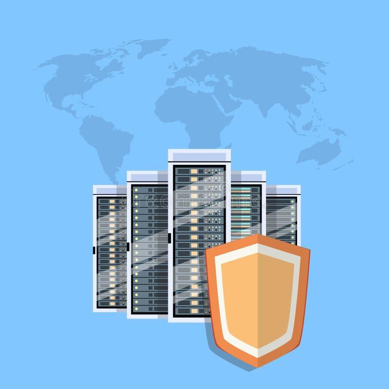 盾数据中心保护,互联网安全 库存例证