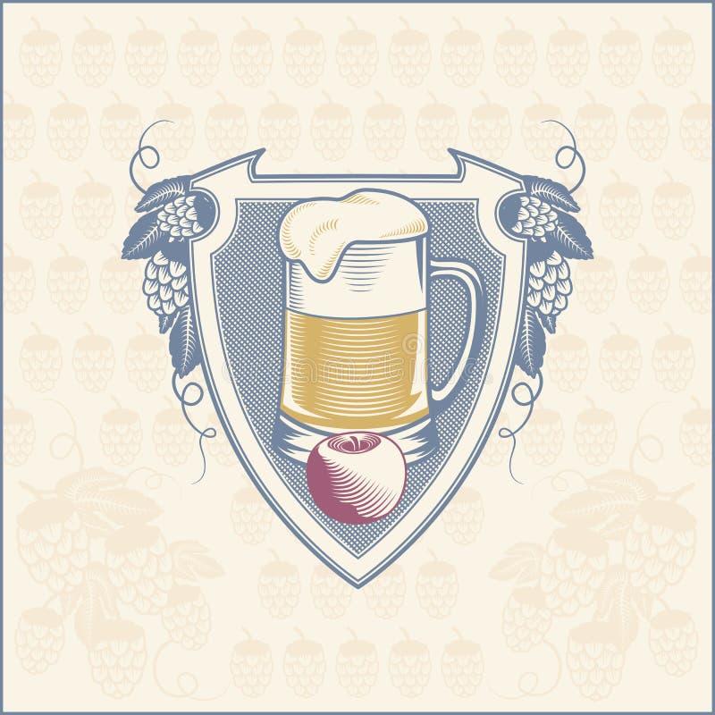 盾有蛇麻草分支的啤酒杯 向量 向量例证