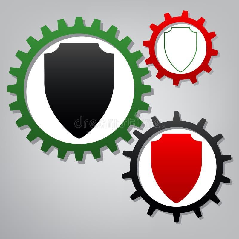 盾标志例证 向量 有ico的三个被连接的齿轮 库存例证
