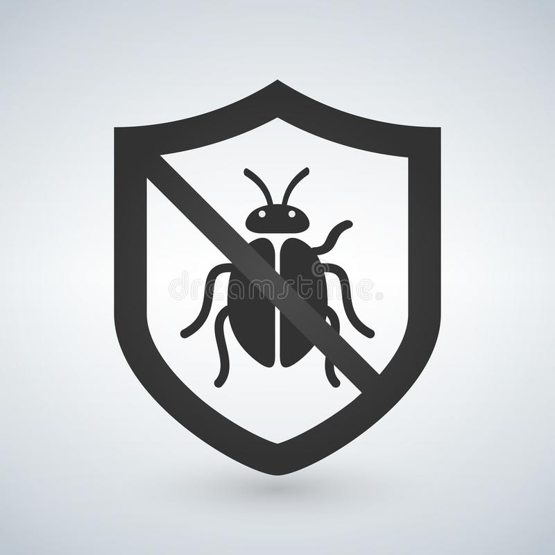 盾标志象 病毒保护标志 臭虫标志 企业抽象圈子商标 库存例证
