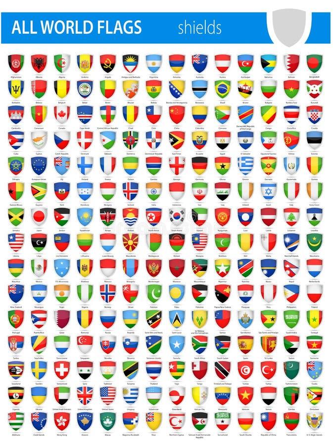 盾象旗子-所有世界传染媒介 库存例证