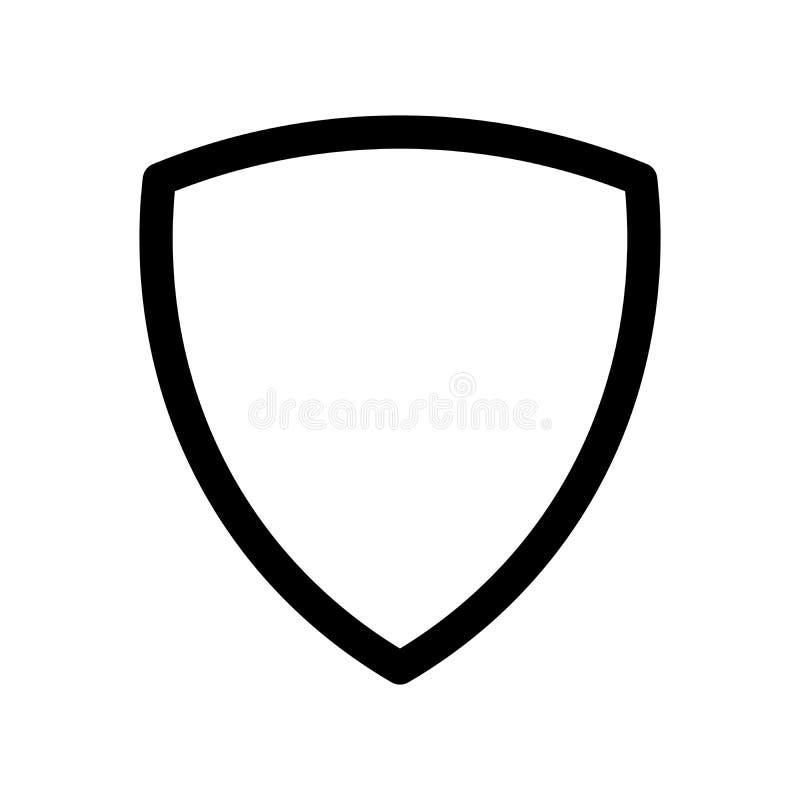盾象 安全、安全和保护的标志 概述现代设计元素 简单的黑平的传染媒介标志 向量例证