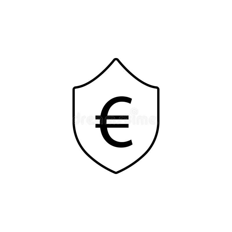 盾,欧元象 财务例证的元素 标志和标志象可以为网,商标,流动应用程序,UI,UX使用 向量例证