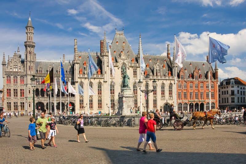 省法院 集市广场 布鲁日 比利时 库存照片