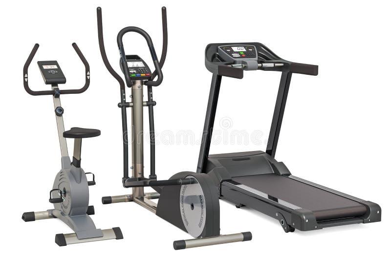 省略教练员、踏车和锻炼脚踏车 3D在白色背景隔绝的翻译 向量例证