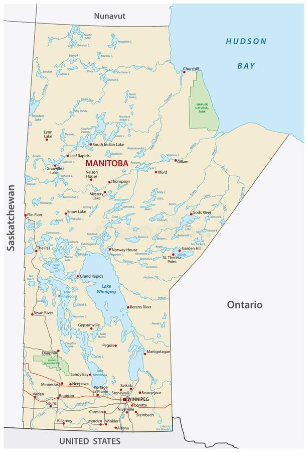 省马尼托巴传染媒介路和旅行地图 库存例证