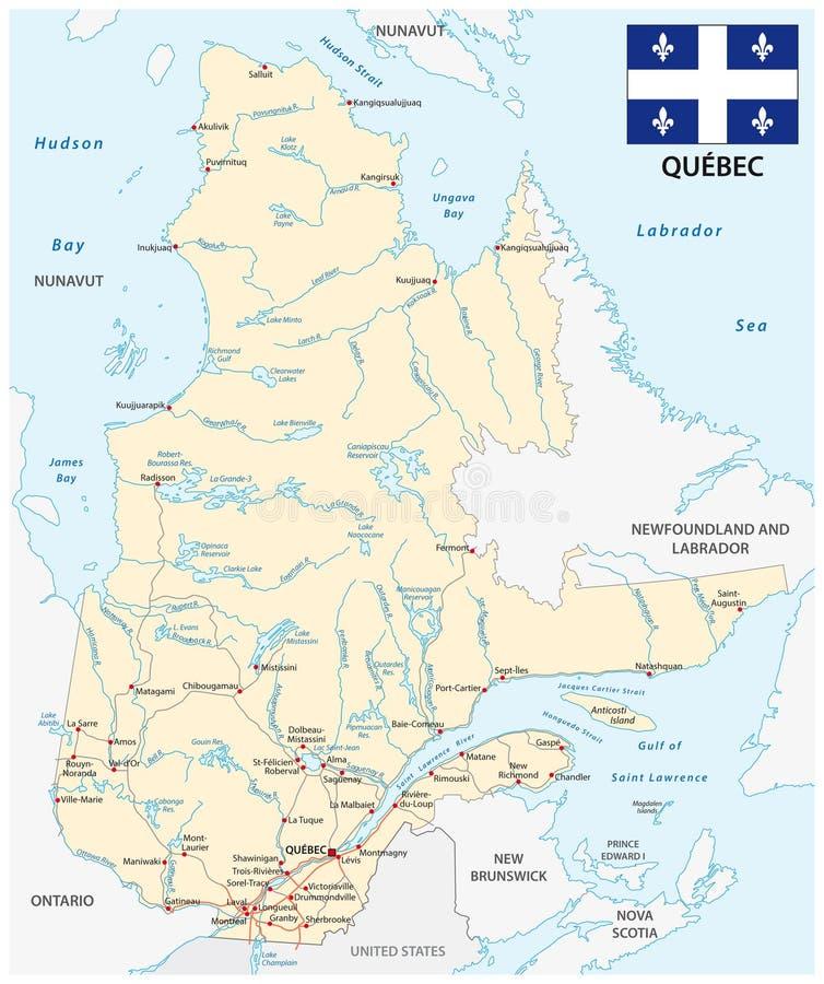 省魁北克与旗子的路线图 向量例证