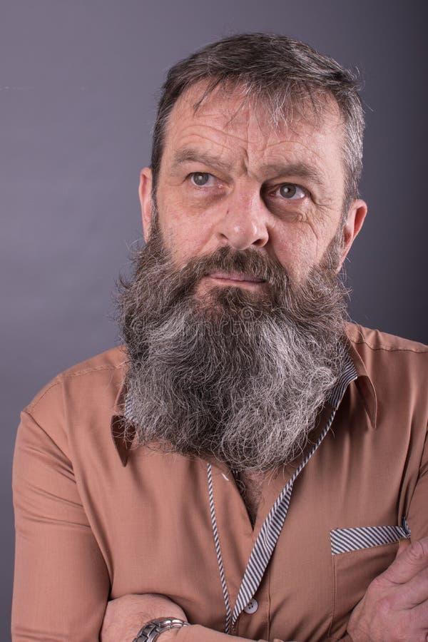 看一个恼怒的脾气坏的老的人的照片非常生气 有长的胡子的男性人在他的面孔 接近面朝上 库存照片