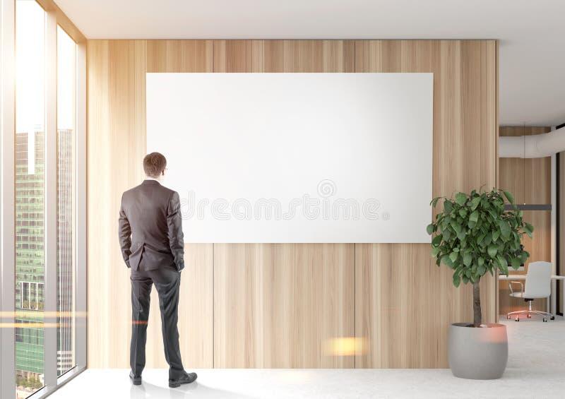 看一张海报的商人在木办公室 库存例证