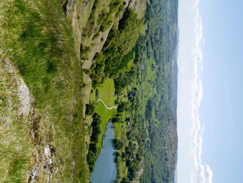 看下来对Loughrigg地区,湖区 图库摄影