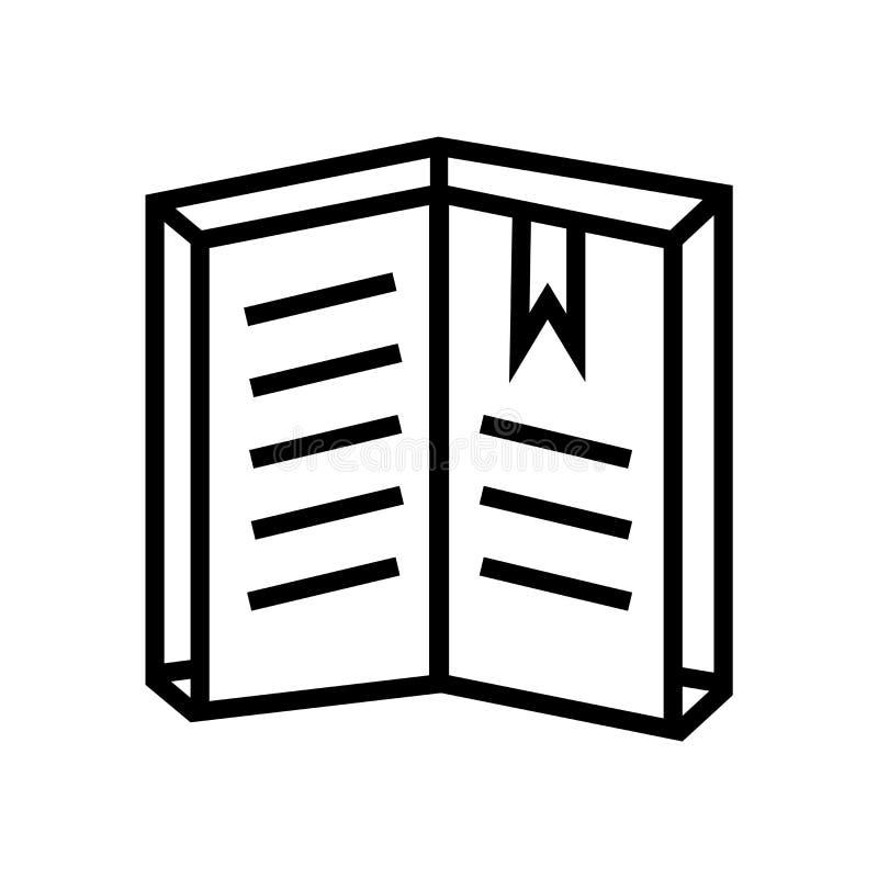 看书在白色背景、看书标志、线性标志和冲程设计元素隔绝的象传染媒介在概述 库存例证