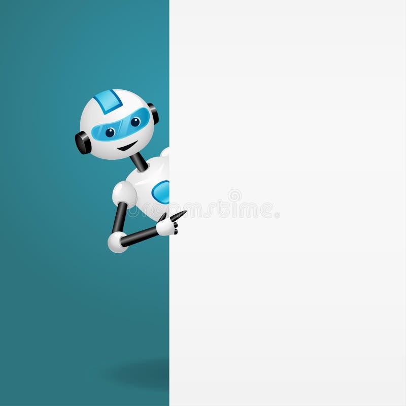 看从一个空的白板的后面和指向手指的逗人喜爱的机器人 向量例证