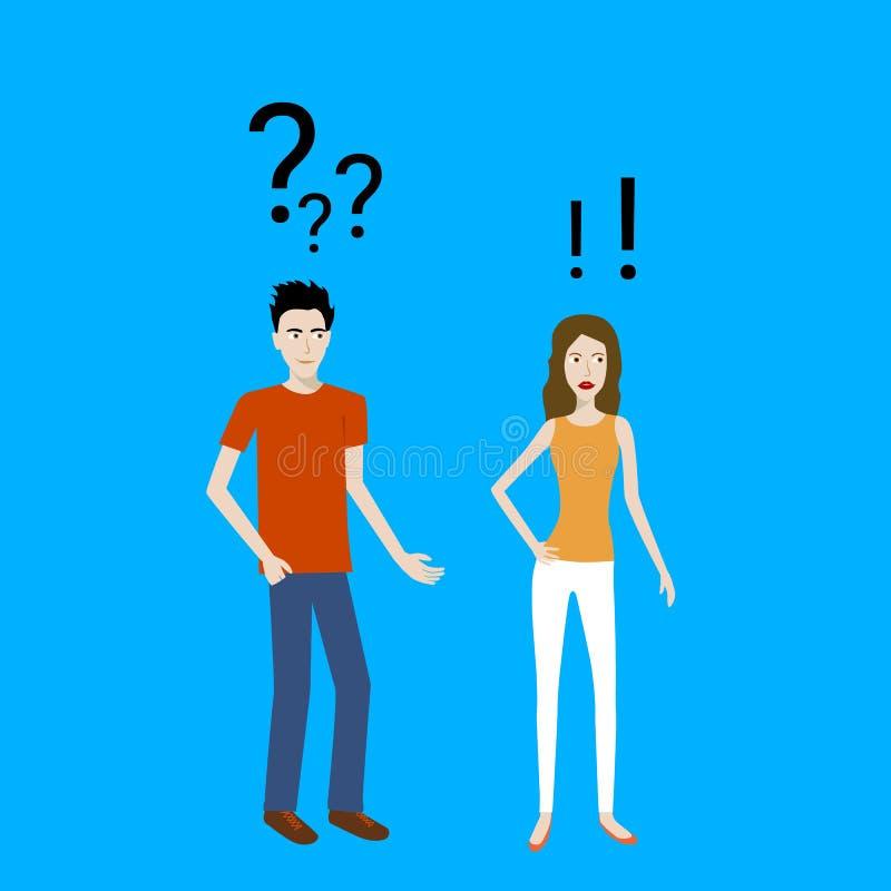 看他恼怒的女朋友的一个迷茫的男孩的平的设计动画片传染媒介 库存例证