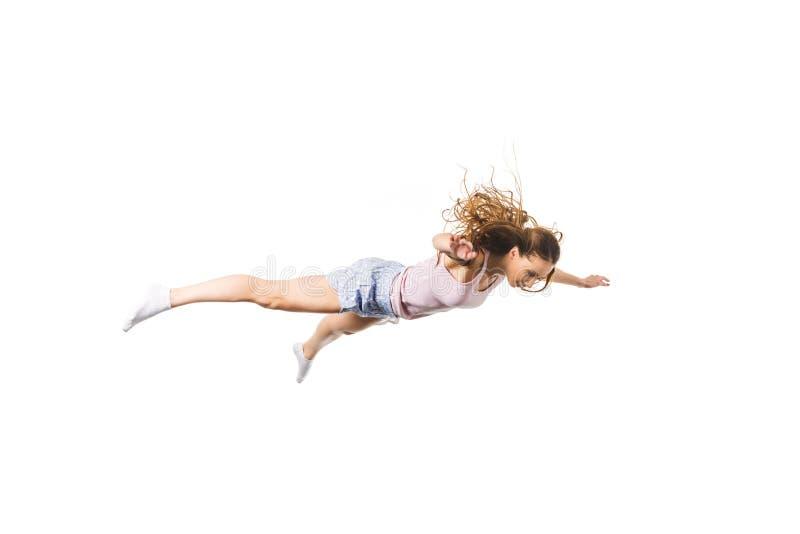 看全长的观点的年轻女人倒下和 免版税图库摄影