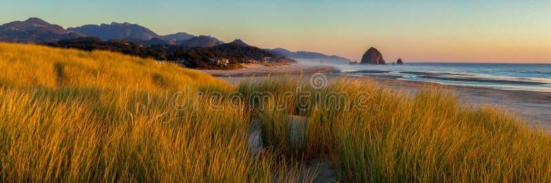 看南对大炮海滩和干草堆岩石在大炮海滩 免版税库存照片