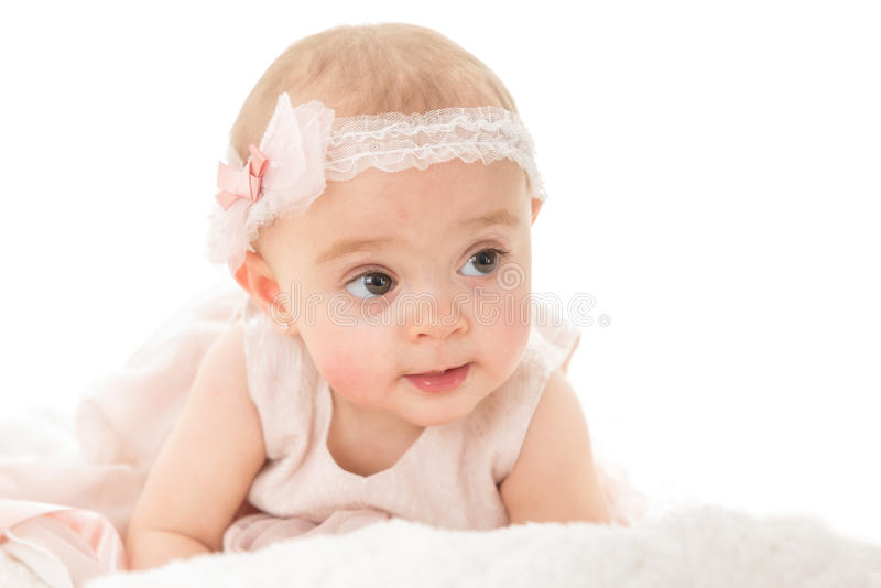 看可爱的女婴水平的射击  库存照片