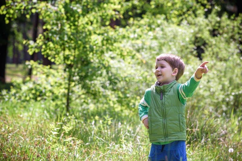 看和指向他的手指的五岁的男孩奇怪 免版税库存图片