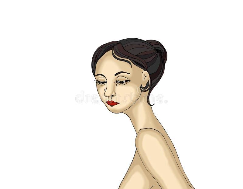 看哀伤的美丽的女孩哭泣和下来 纵向妇女 皇族释放例证