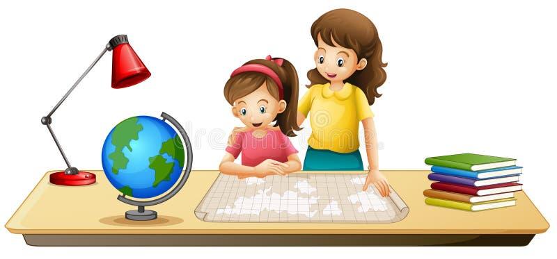 看在桌上的女孩地图 皇族释放例证