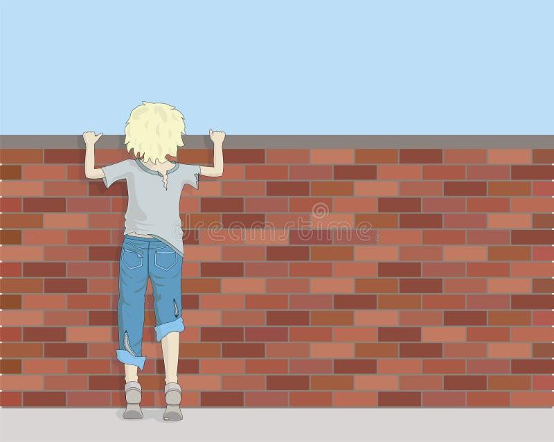 看在砖墙的贫穷的男孩 向量例证