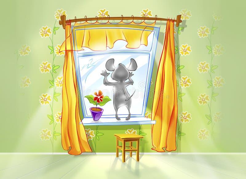 看在窗口外面的小的老鼠 库存例证