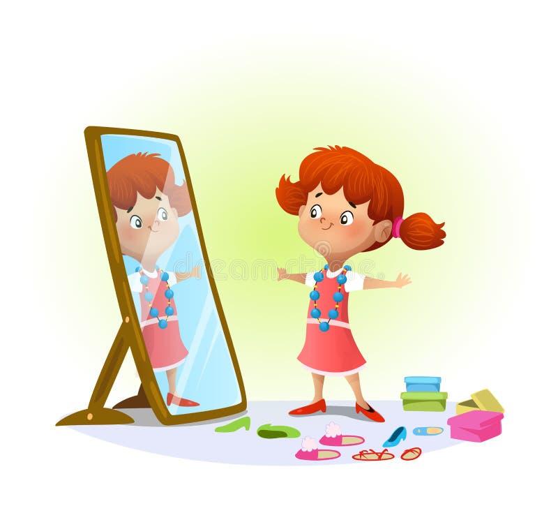 看在镜子的逗人喜爱的女孩 向量例证
