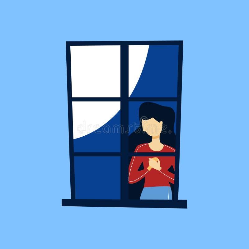 看在闭合的窗口外面的妇女 库存例证