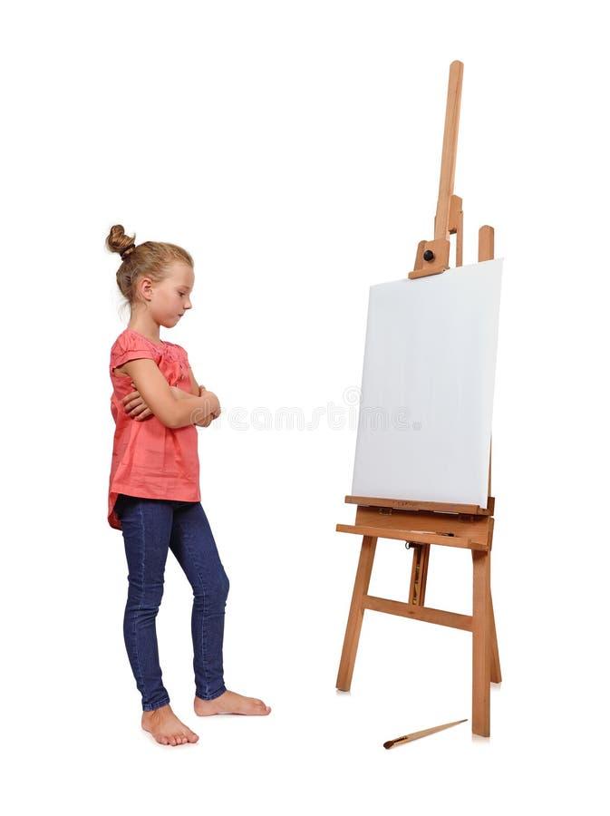 看在画架的女孩 库存图片