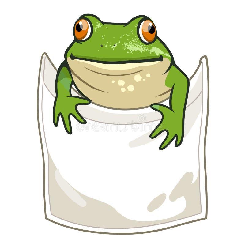 看在T恤杉口袋滑稽的幽默传染媒介动画片外面的青蛙 皇族释放例证