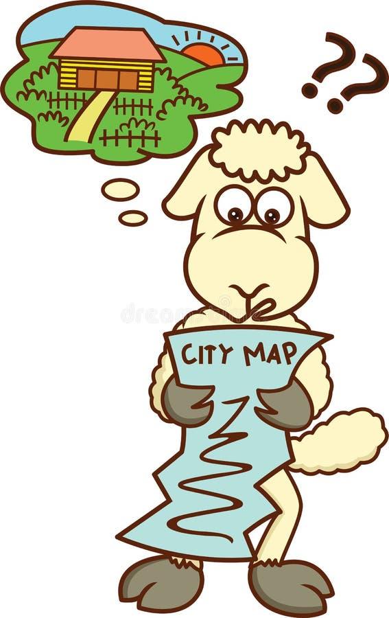 看城市地图动画片的失去的绵羊 库存例证