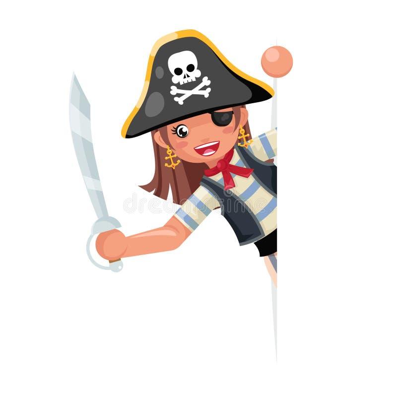 看壁角海盗党逗人喜爱的女孩儿童capitan服装化妆舞会妇女青少年的党女性角色设计传染媒介 库存例证