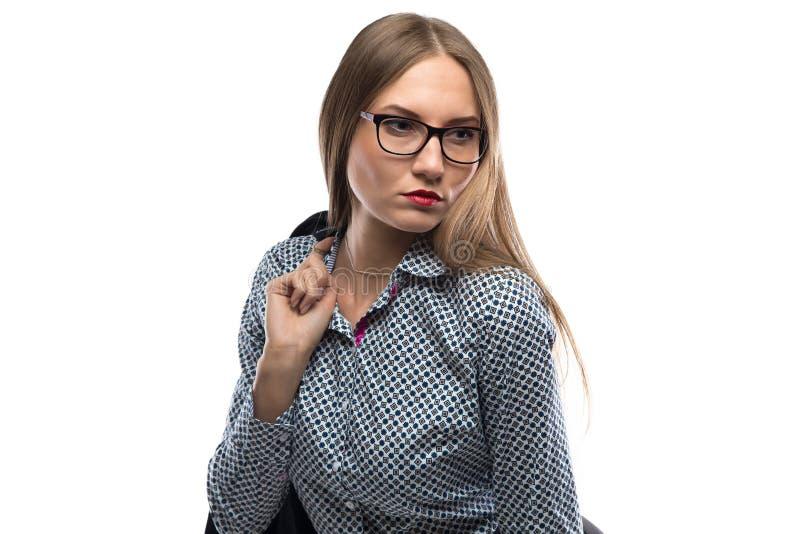 看女商人的照片  免版税图库摄影