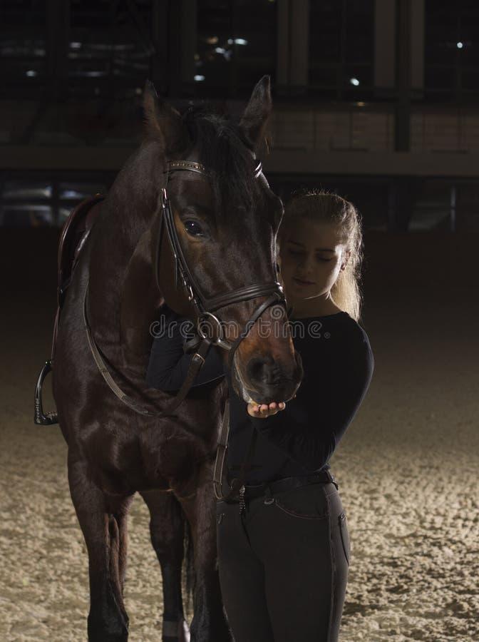 看她美丽的马的骑师 免版税库存图片