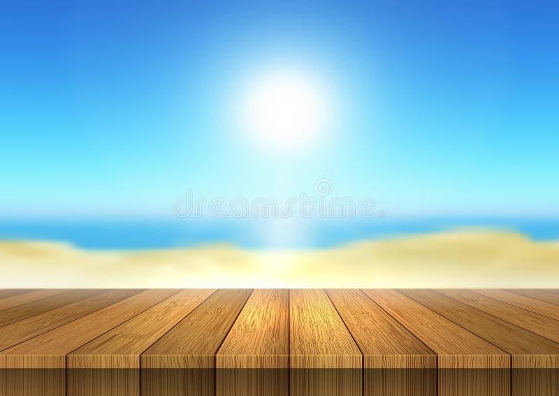 看对defocussed海滩风景的木桌 库存例证